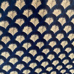 Velluto fant foglie blu